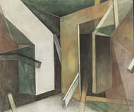 Angles and Divides by Alka Jhamb, Cubism Painting, Acrylic & Graphite on Canvas, Brown color