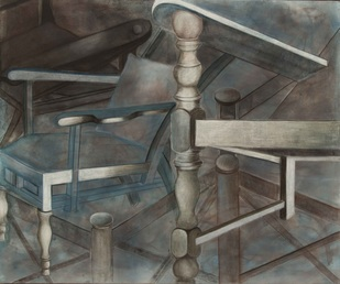The Chair City by Alka Jhamb, Geometrical Painting, Acrylic & Graphite on Canvas, Gray color