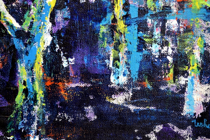 Colors Of Nature by Usha Shantharam, Abstract Painting, Acrylic on Canvas, Blue color