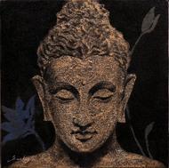 Buddha 1 by Sulakshana Dharmadhikari, Expressionism Painting, Oil & Acrylic on Canvas, Brown color