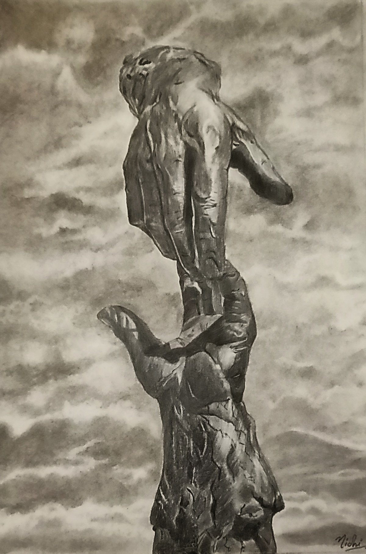 GUIDING FORCE by Nidhi Bhatia, Illustration Painting, Graphite on Paper,