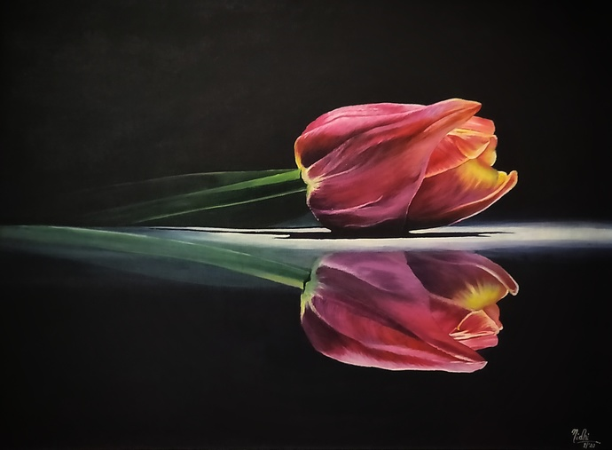 REFLECTION by Nidhi Bhatia, Realism Painting, Acrylic on Board,