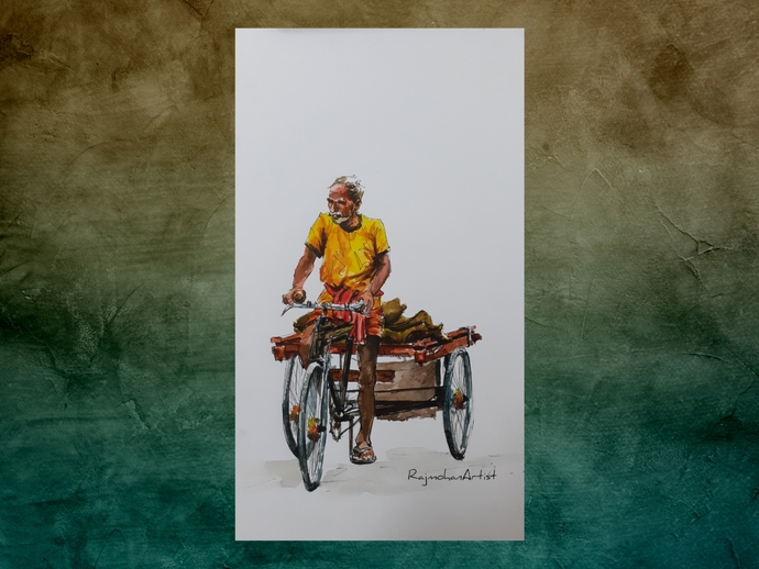 Rickshaw puller by Rajmohan, Expressionism Painting, Watercolor & Ink on Paper, Gray color
