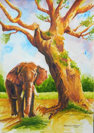 Elephant by Rajmohan, Impressionism Painting, Watercolor on Paper,