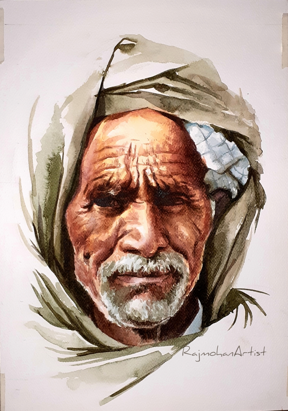 Indian portrait by Rajmohan, Expressionism Painting, Watercolor on Paper,