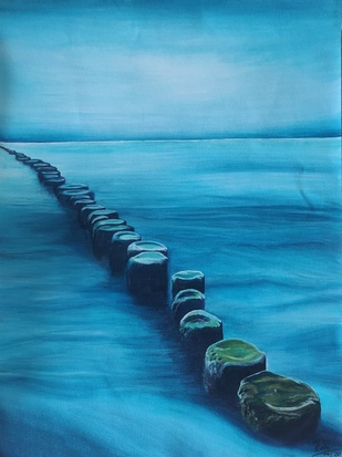 THE PATH by Nidhi Bhatia, Fantasy Painting, Acrylic on Canvas, Blue color