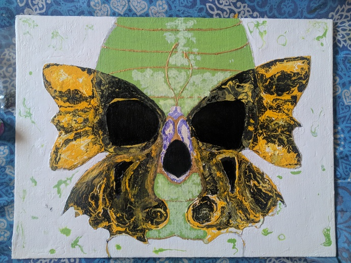 Illusion of Death by Arvind A, Pop Art Painting, Acrylic on Canvas, Beige color