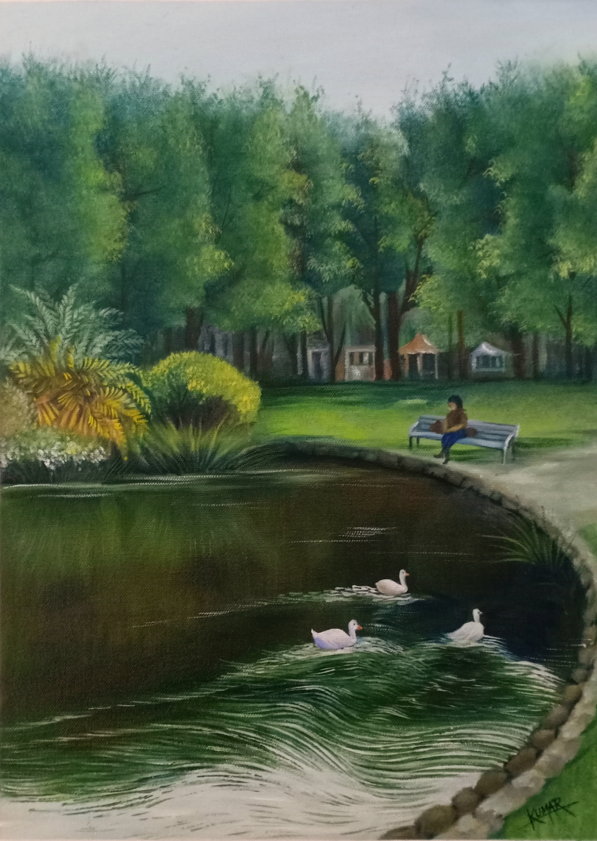 Botanical garden by Kumar Ranadive, Impressionism Painting, Acrylic on Canvas, Green color