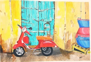 The lonely scooter by Neha gupta, Expressionism Painting, Acrylic on Canvas, Hippie Blue color