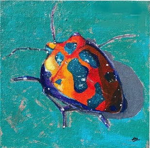Beetles in my garden by Neha gupta, Expressionism Painting, Acrylic on Canvas, Jelly Bean color