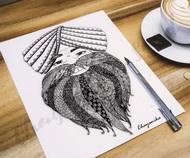 Veer Ji by Chayanika Sood, Illustration Digital Art, Digital Print on Paper, Mercury color