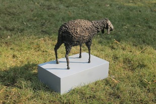 Sheep by Rutvik Mehta, Art Deco Sculpture   3D, Brass,