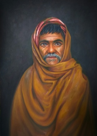 Silent patience to reopen the world by Ram Rokade, Realism Painting, Oil on Paper, Dune color