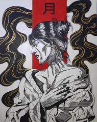 Tsuki by Goldie Crasto, Pop Art Painting, Mixed Media on Paper, Pale Slate color