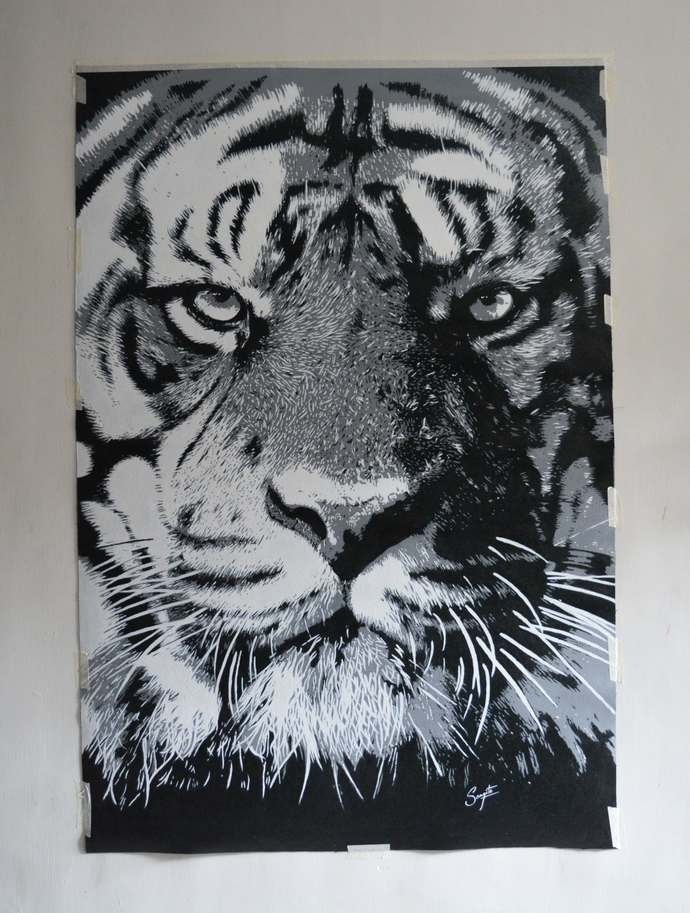 Tiger's Eye by Sangeeta Jaiswal, Illustration Painting, Acrylic on Canvas, Pale Slate color