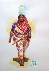 Rural Woman by Anil Kumar, Expressionism Painting, Watercolor on Paper,