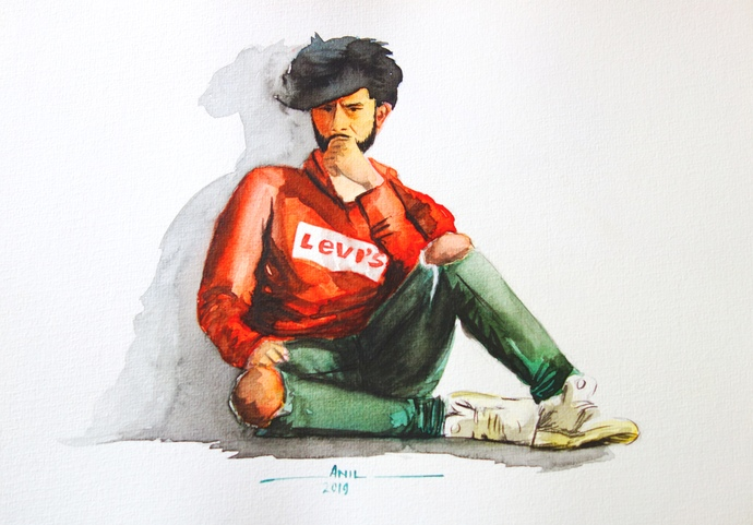 Youth by Anil Kumar, Impressionism Painting, Watercolor on Paper,