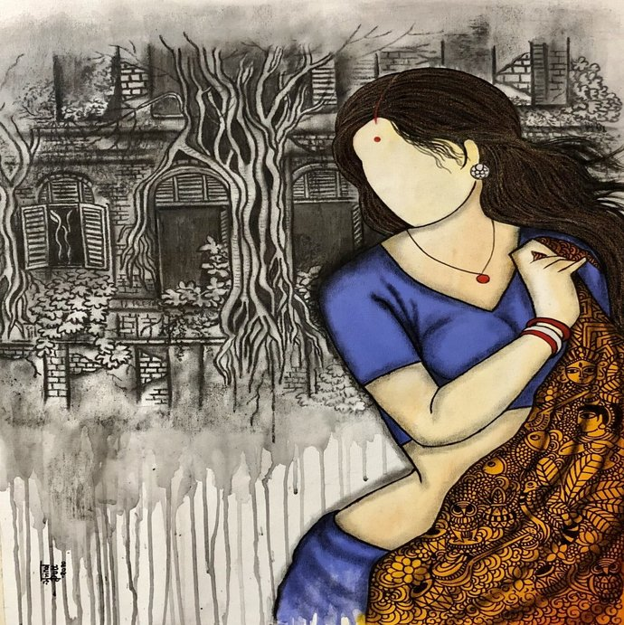 Kamini by Mrinal Dutt, Expressionism Painting, Mixed Media on Canvas,