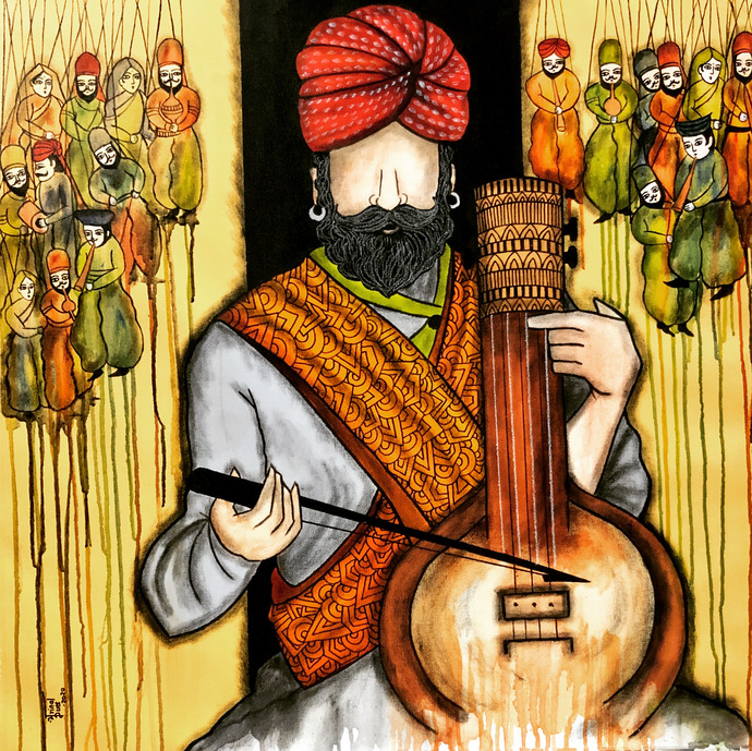 Swar Lahri by Mrinal Dutt, Expressionism Painting, Acrylic on Canvas,
