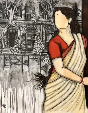 Bideshini by Mrinal Dutt, Decorative Painting, Mixed Media on Canvas,