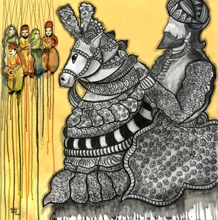 Khatputli by Mrinal Dutt, Traditional Painting, Mixed Media on Canvas,