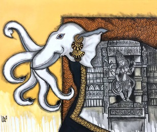 Airavatha by Mrinal Dutt, Traditional Painting, Mixed Media on Canvas,