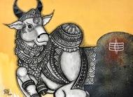 Rakshak by Mrinal Dutt, Traditional Painting, Mixed Media on Canvas, Tuatara color