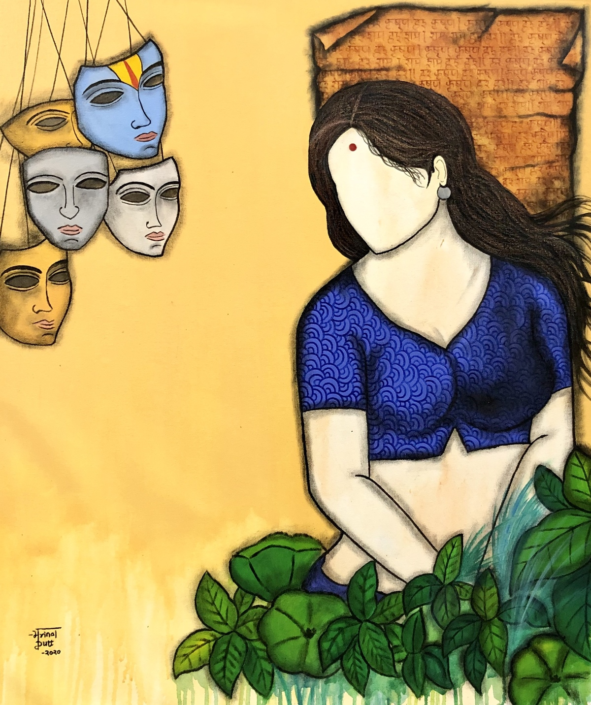 Radha by Mrinal Dutt, Expressionism Painting, Acrylic on Canvas, Rob Roy color
