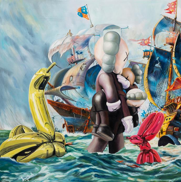 Kaws & Koons on a play date LIMITED EDITION PRINT by Sanuj Birla, Pop Art Digital Art, Digital Print on Enhanced Matt, Blue Dianne color