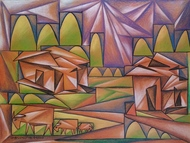 Dream Village by Soumitra Dutta, Geometrical Painting, Mixed Media on Paper, Strikemaster color