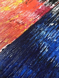 Fine & Ice - Abstract by Nitin Rai, Abstract Painting, Acrylic on Canvas, Burning Sand color