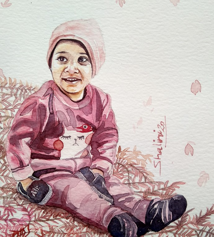 The Glimpses Of Red by shalini sandeep kumar, Impressionism Painting, Watercolor on Paper, Iron color