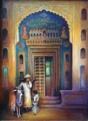 Nawalgarh haveli by Sarnjit singh, Impressionism Painting, Acrylic on Canvas, Pine Cone color