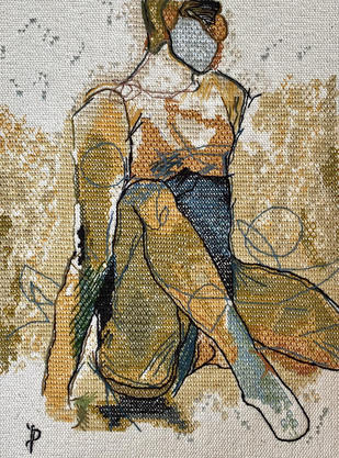 NUDE AESTHETICS PB/NA - 29 by Puja Bhakoo, Expressionism Textile, Stitching on Cloth , Heathered Gray color