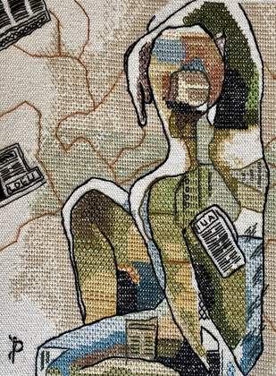 NUDE AESTHETICS PB/NA - 32 by Puja Bhakoo, Expressionism Textile, Stitching on Cloth , Taupe Gray color