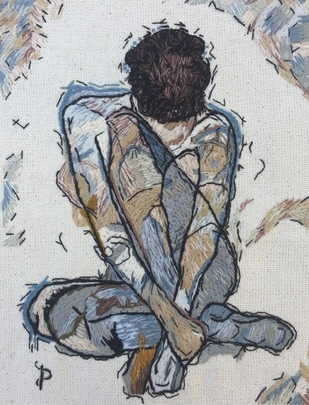 NUDE AESTHETICS PB/NA - 16 by Puja Bhakoo, Expressionism Textile, Stitching on Cloth , Silver color