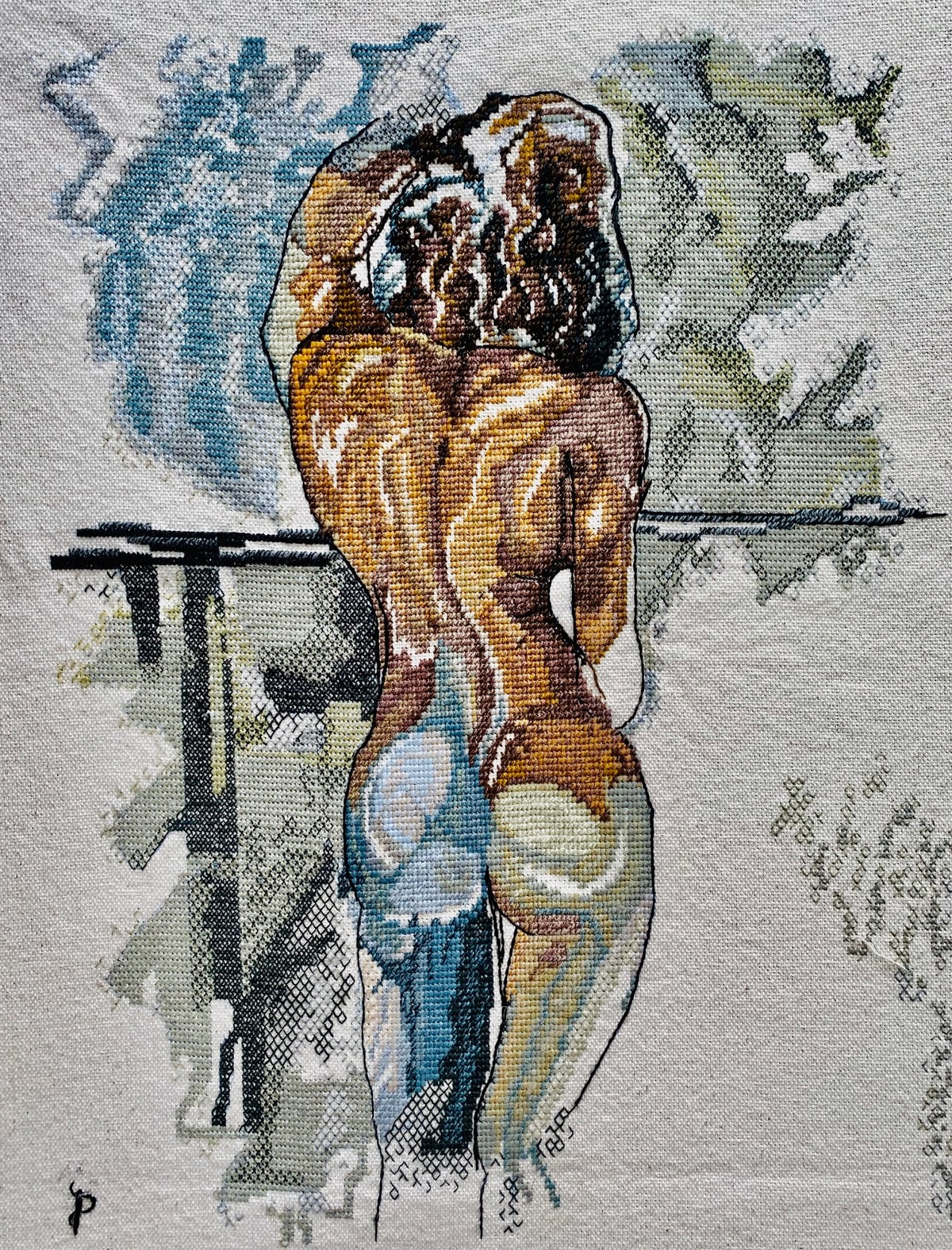 NUDE AESTHETICS PB/NA - 35 by Puja Bhakoo, Expressionism Textile, Stitching on Cloth , Gray Nickel color