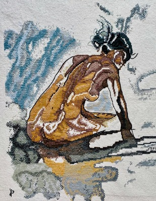 NUDE AESTHETICS PB/NA - 36 by Puja Bhakoo, Expressionism Textile, Stitching on Cloth , Gray Nickel color