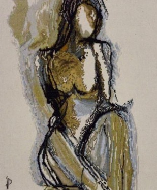 NUDE AESTHETICS PB/NA - 01 by Puja Bhakoo, Expressionism Textile, Stitching on Cloth , Cocoa Brown color