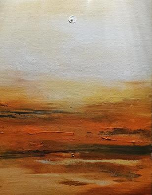 Le Soleil by Ambika Malhotra, Abstract Painting, Acrylic on Canvas, Sepia color