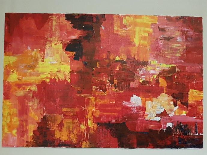 Euphoria by Ambika Malhotra, Abstract Painting, Acrylic on Canvas, Medium Carmine color