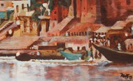 Chet Singh Ka Kila by Mamta Malhotra, Impressionism Painting, Oil on Canvas, Hit Gray color