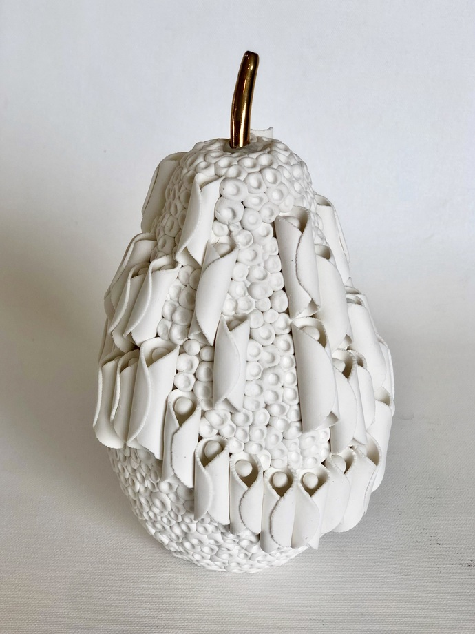Fruit, the womb of creation - Cocoons by Shweta Mansingka, Art Deco Sculpture | 3D, Ceramic, Cloud color
