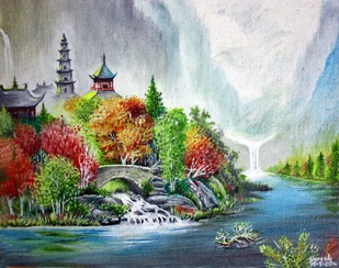 Beautiful Riverfront by K SURESH KUMAR, Expressionism Painting, Oil on Canvas Board, Powder Ash color