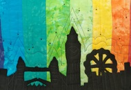 Londonscape by Deepa Vasudevan, Abstract Textile, Stitching on Cloth , Baltic Sea color