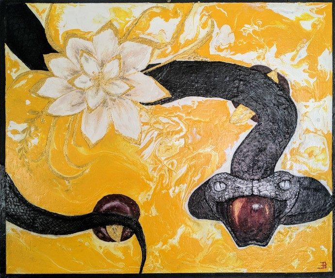 The Golden Knowledge by Arvind A, Expressionism Painting, Acrylic & Ink on Canvas, Baltic Sea color