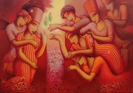 The gift by Samir Sarkar, Expressionism Painting, Acrylic on Canvas, Old Brick color