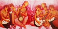 Sound 62 by Samir Sarkar, Expressionism Painting, Acrylic on Canvas, Valencia color