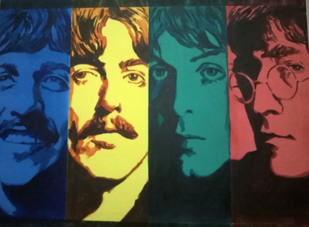 Beatlemania by Rajkumar Sarkar, Pop Art Painting, Acrylic on Canvas, Outer Space color