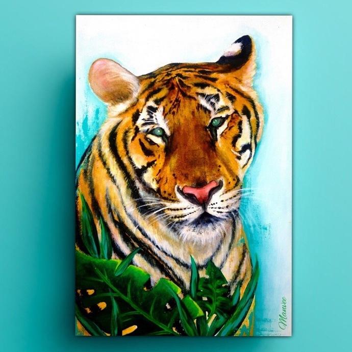 Tiger Digital Print by Manvee Singh,Expressionism